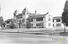 A School with a Fiery Start. Pictured: Visalia High School after construction, circa 1912.