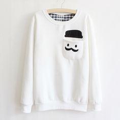 mustache face sweater