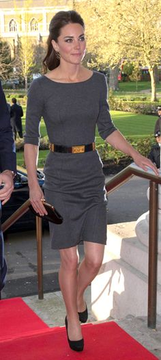 Kate Middleton. Fitted 3/4 Sleeve Dress. Black/Gold Belt. Heels.