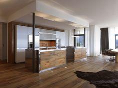 grifflose Holz Küchenfronten und weiße Kochinseln | küche ... | {Freistehender küchenblock modern 43}
