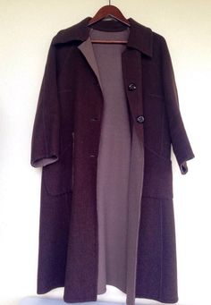 Ladies vintage 2 tone 3/4 sleeves coat chocolate brown/cafe woolen felt coat by Myfamilytreasure on Etsy