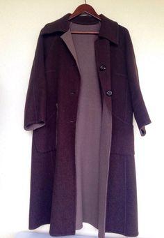 Ladies vintage 2 tone 3/4 sleeves coat chocolate brown/cafe woolen felt coat by Myfamilytreasure on Etsy