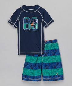 Another great find on #zulily! Blue Spell & Green Rashguard Set - Infant, Toddler & Boys #zulilyfinds