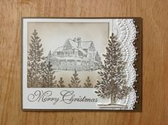 Handmade Christmas Card KIT Cottage IN THE Wood MD W Mostly Stampin UP Product   eBay
