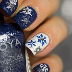 Blue And White PixieDust Snowflakes christmas christmas nails winter nails christmas nail art christmas nail designs christmas nail images