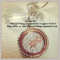 Winter themed living locket - Large Rose Gold Locket with Crystals, Love Window Plate, Snowflake Charm, Pearl Charm, Clear Crystal Dangle, Clear Quatrefoil Dangle.