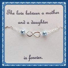 Mother Daughter Infinity Bracelet -Infinity Bracelet with 2 Pearls - Last Minute Present for Mom - Late Gift for Daughter -Hypoallergenic