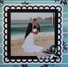 This pretty wedding scrapbook is full of bridal page ideas for a Destination Wedding. It took place on a beach in Los Cabos, Baja, Mexico. Lots of classy & easy layouts. Wedding Album Layout, Wedding Scrapbook Pages, Bridal Shower Scrapbook, Paper Bag Scrapbook, Album Scrapbook, Recipe Scrapbook, Birthday Scrapbook, Scrapbook Page Layouts, Scrapbook Supplies