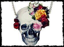 Punk rockabilly/ pinup/ goth/  metal SKULL & ROSES NECKLACE