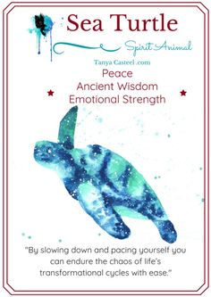 Sea Turtle spirit animal symbolism, meaning, and watercolor paintings by Tanya Casteel Turtle Spirit Animal, Spirit Animal Totem, Animal Spirit Guides, Animal Totems, Animal Meanings, Animal Symbolism, Symbols And Meanings, Turtle Symbolism, Turtle Quotes