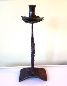 Tall Handmade Iron Brutalist Flower Candleholder by JigsandLarry