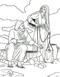 Lesson 15 Woman at the Well - Samaritan Woman Coloring Page, use for magnet puzzle