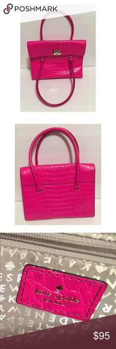 Kate Spade Satchel An original Kate Spade bag. This hot pink bag makes a bold statement. It's beautiful! Has some wear and tear but nothing too noticeable. Some parts of handles are discolored, I have provided a picture. Overall good condition. Originally bought from Nordstroms. Comes with dust bag. kate spade Bags Satchels