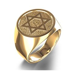 Unique Star of David Signet Ring in Sterling Silver or Gold Mens Gold Rings, Rings For Men, Silver Rings, Solomons Ring, Mens Ring Designs, Gents Ring, Jewish Jewelry, Star Of David, Signet Ring