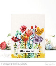 Sketched Blooms 2 Stamp Set, Lots of Hugs Stamp Set, Stitched Sentiment Strips Die-namics -  Yoonsun Hur  #mftstamps