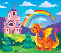 Image with happy dragon theme 7 - eps10 vector illustration. Stock Vector - 41849725