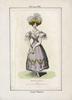 Abendkleid, Lady's Magazine Februar 1830