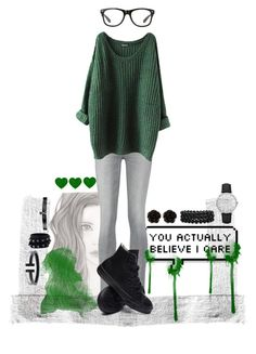"""Green :)"" by galaxygirl12427 ❤ liked on Polyvore featuring 7 For All Mankind, Converse, Erica Lyons, Bling Jewelry, CLUSE, Valentino and Fallon"