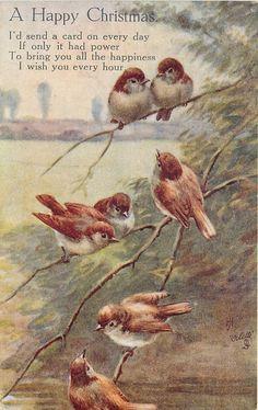 (seven nightingales on branch)