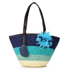 Flower Rattan Beach Shoulder Bag Handbags ($13) ❤ liked on Polyvore featuring bags, handbags, white, hand bags, flower purse, purse shoulder bag, handbag purse and white hand bags