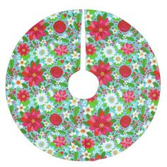 Christmas Tree Skirt Poinsettia Floral - home gifts ideas decor special unique custom individual customized individualized