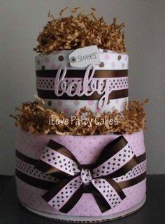 Sweet Baby 2-Tier Pink & Brown Diaper Cake. $40.00, via Etsy. #babyshower #diapercake