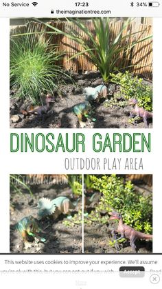 Create a dinosaur garden small world play area for kids to enjoy outside! Fantastic for feeding the imagination and creating lots of storytelling prompts. Outdoor play areas Small World Play: Dinosaur Garden - The Imagination Tree Kids Outdoor Play, Outdoor Play Spaces, Kids Play Area, Backyard For Kids, Outdoor Fun, Garden Kids, Indoor Play, Garden Ideas For Toddlers, Backyard Trees
