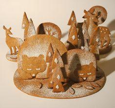 Winter Scene Cookies~                By polkka jam, #, Bear, deer, tree,3D