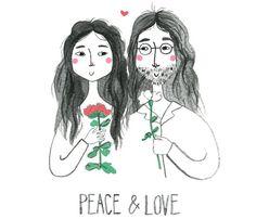 Peace & Love, yoko ono & john lennon by Viktorija, And Smile. Seen on HappyMakersBlog.com.
