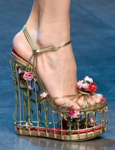 Spring Fashion Show 2013 - Dolce et Gabbana - next season you could always recycle the shoe as a tiny bird cage!