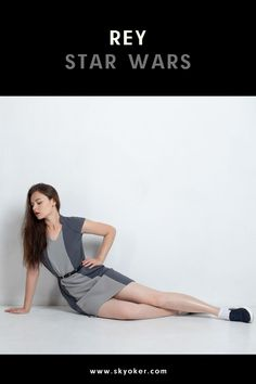#rey #starwars #darthvader #dress #disney #woman #girl Straight Cut Dress, Star Wars Outfits, Rey Star Wars, Cosplay Outfits, Girl Costumes, Starwars, Blue Stripes, Off The Shoulder, Woman