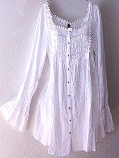 NEW~$89~Long White Victorian Vintage Lace Peasant Blouse Boho Tunic Top~16/14/XL