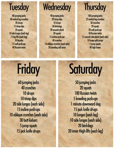 5 days of workouts.