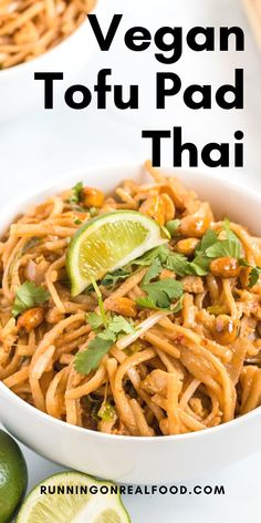 Amazing vegan tofu pad Thai you can make at home with simple ingredients. This dish comes together in under 30 minutes for a delicious meal you can enjoy any night of the week. Tofu Recipes, Delicious Vegan Recipes, Dairy Free Recipes, Real Food Recipes, Healthy Recipes, Gluten Free, Tofu Pad Thai, Vegan Pad Thai, Pad Thai Sauce