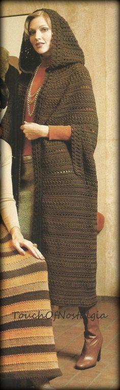 Long HOODED CLOAK CAPE Crochet Pattern by touchofnostalgia7, $3.75