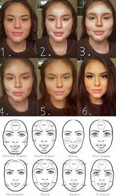 Contouring make a HUGE difference. Do It Right and it looks amazing! - Make up - Makeup 101, Makeup Guide, Makeup Inspo, Makeup Inspiration, Beauty Makeup, Le Contouring, Contour Makeup, Contouring And Highlighting, Skin Makeup