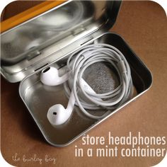 store headphones in a mint container - The Burlap Bag