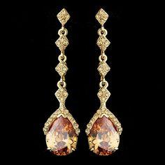 Gold & Topaz Vintage Teardrop Dangle Earrings E 948