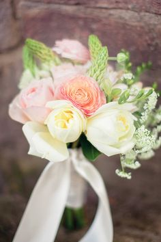 Coral, yellow and pink wedding bouquet