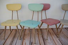 Retro Awesome Gang of 4 Kid Chairs in Yellow Aqua Red and Tan. $110.00, via Etsy.