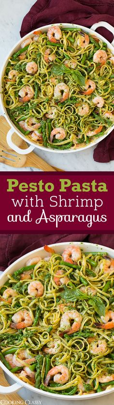 Pesto Pasta with Shrimp and Asparagus - seriously flavorful and totally delicious! The perfect spring dinner!