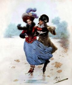 Giuseppe Aureli Couple Skating - The Largest Art reproductions Center In Our website. Low Wholesale Prices Great Pricing Quality Hand paintings for saleGiuseppe Aureli Vintage Christmas Cards, Vintage Cards, Vintage Images, A4 Poster, Poster Prints, Skating Pictures, Vintage Couples, New York Art, Vintage Winter