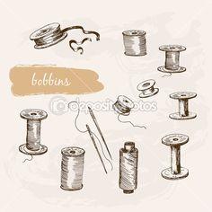 ボビン (糸巻き)。手描きのグラフィック イラストのセット — ストックイラストレーション #52472347