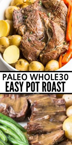 Best Easy Paleo Pot Roast, it's a family favorite we make it all the time! Healthy beef dinner you can make make it in the oven or in your slow cooker or crockpot, it's and gluten free and has the tastiest gravy ever! This is the best clean eating Healthy Pot Roast, Easy Pot Roast, Roast Beef Recipes, Healthy Crockpot Recipes, Easy Paleo Dinner Recipes, Health Recipes, Paleo Recipes, Clean Eating Dinner, Clean Eating Recipes