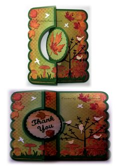 Thank you card using Sizzix Flip It die and bobunny Autumn Song papers.