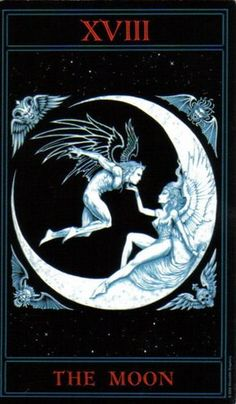 Tarot:The Moon~The end of a major cycle, but things still changing. Mutable or dreamy qualities in relationships. Romance and communion of souls. Metamorphosis within self. Time to look inward and examine personality traits. Change is possible from deep within. Qualities of others masked for good or bad. Examine contracts and projects for hidden meanings behind written or spoken words. A time to work with the moon's energies.