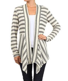 Love this Gray Stripe Gathered Open Cardigan by J-Mode USA Los Angeles on #zulily! #zulilyfinds