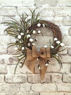 Cotton ball wreath summer wreath for door front door wreath outdoor wreath silk wreath grapevine wreath cotton wreath autumn wreath Wreath Crafts, Diy Wreath, Grapevine Wreath, Wreath Burlap, Wreath Making, Wreath Ideas, Fall Wreaths, Christmas Wreaths, Country Wreaths