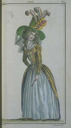 Magasin des Modes, August 1787. Her hat is longer than her torso. That is a girl after my own heart!