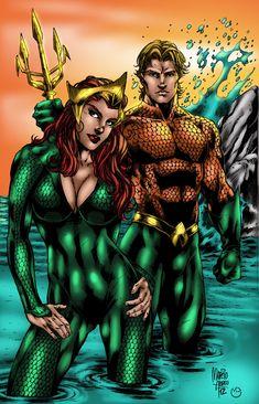 Aquaman & Mera (a. My wife has big ones so suck it, losers! Dc Comics Superheroes, Dc Comics Art, Marvel Dc Comics, Comics Girls, Aquaman, Heroes United, Dc Heroes, Comic Book Characters, Comic Books Art